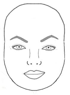кръгло лице вежди